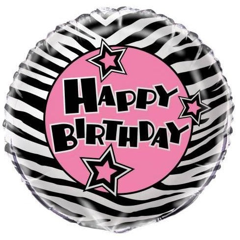 "Zebra Passion Pink Round Foil Balloon 18"", Packaged"