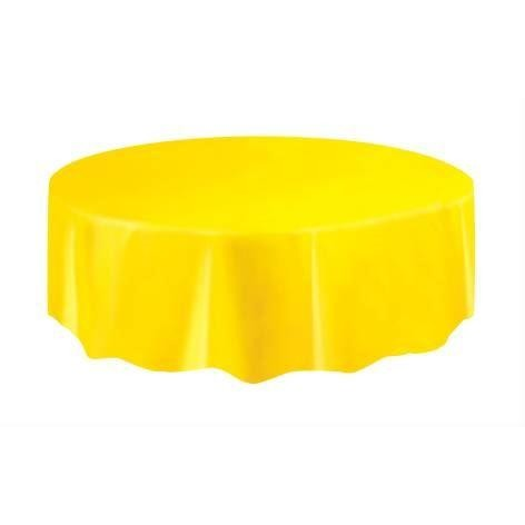 1 Sunflower Yellow Round Plastic Tablecover 84""