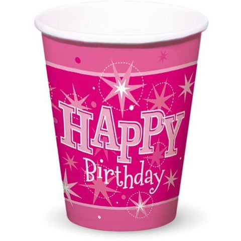 CUPS 200ML 8CT,  HAPPY BDAY PINK SPARKLE