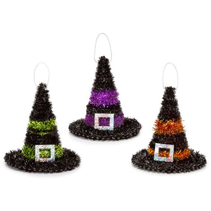Witch Hat with Buckle Tinsel 4 assortment