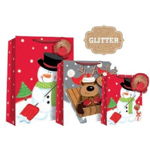 Snowman Glitter XL Gift Bag end of line April 2018