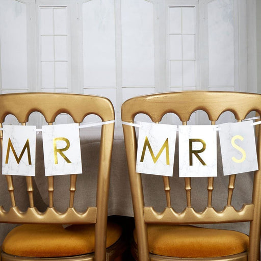 Scripted Marble - Mr & Mrs Chair Bunting