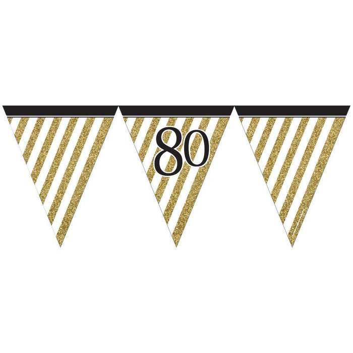 Black and Gold 80 Paper Flag Bunting