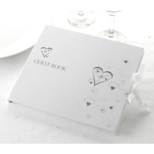 Guest Book - Silver Hearts