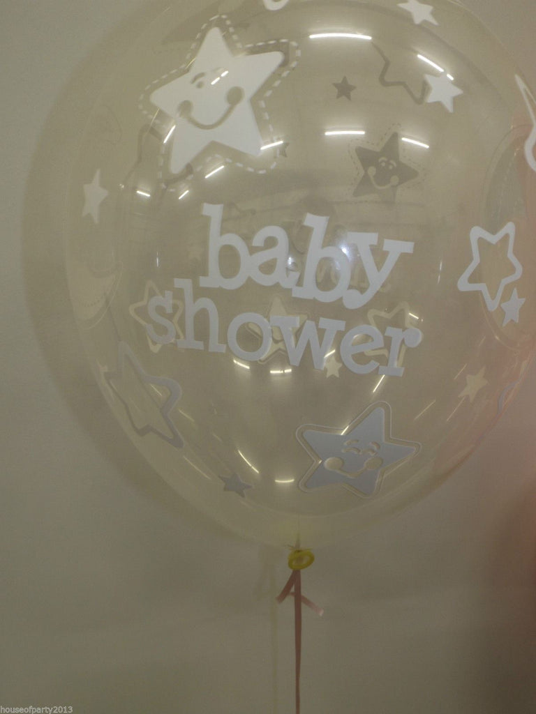 "11"" Round Baby Shower Stars and Moon Clear and White Latex Balloons x 25"