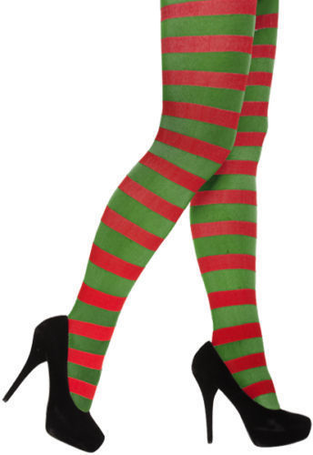 Henbrandt Red And Green Stripey Tights Christmas
