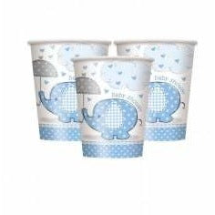 Umbrellaphants Blue 9oz Paper Cups, 8ct