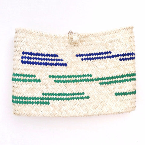 Bolso-capazo de pita. ANTIC MALLORCA. Blue-Green