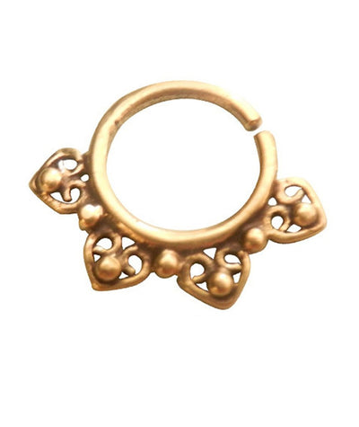 Brass Hearts Design Septum Ring