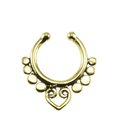 Beads and Heart Fake Septum Ring