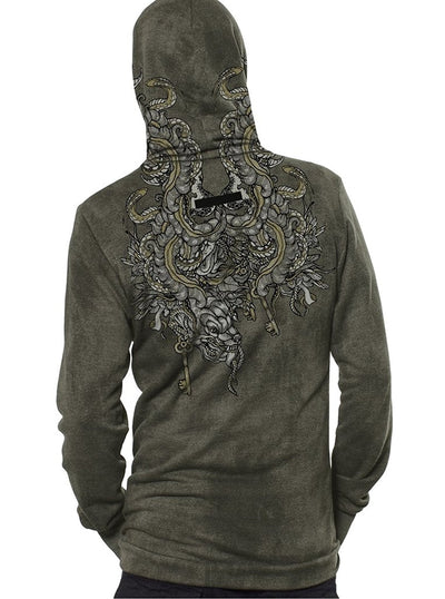 grey tribal print hoodie men