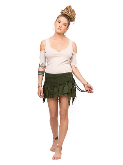 Pixie Wrap Skirt Top Embroidery Fray