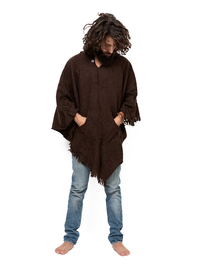 Brown Unisex Wool Poncho with Hood and Pocket