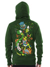 green hoodie alice wonderland print men