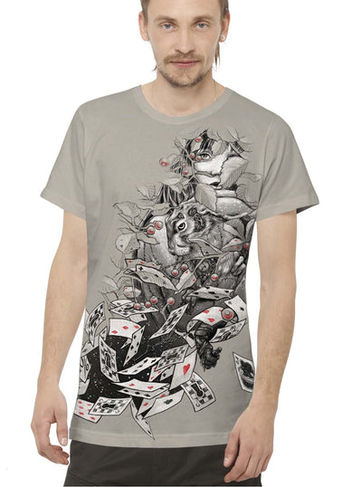 grey festival print t-shirt men