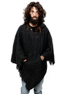 Black Unisex Wool Poncho with Hood and Pocket