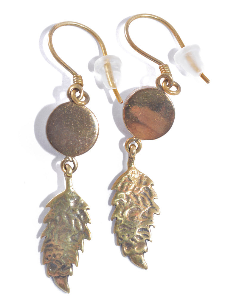 Brass Boho Feather Earrings