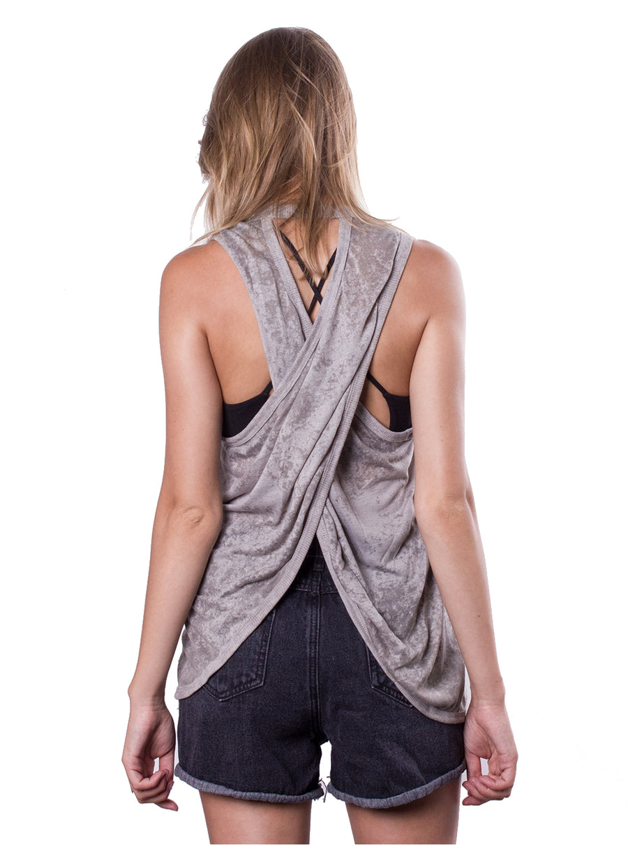 V-173 Wrap Back Acid Wash Top