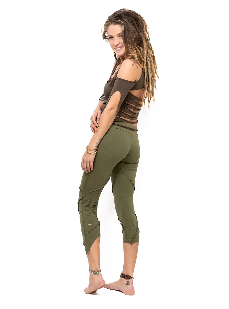 Cropped Pixie Leggings Organic Cotton With Slash Detail