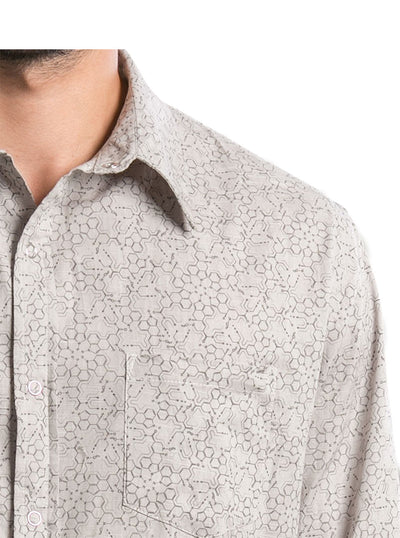 grey psychedelic print long sleeve shirt men