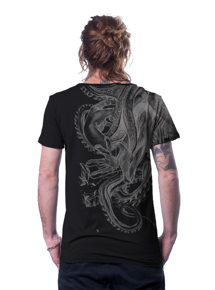 David vs Kraken Octopus Cotton T-shirt