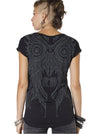 Street Art Owl Design Black Tee