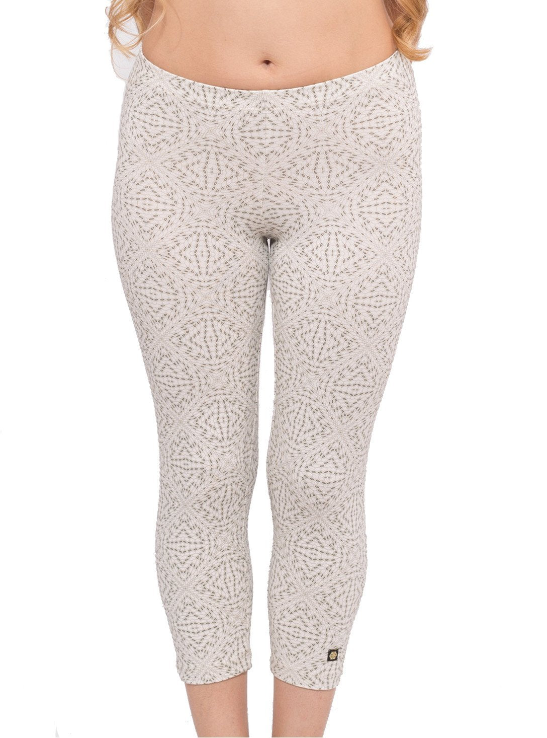 ff886d04fcef3a Hexit Psychedelic Printed Leggings Yoga Workout Capri Cropped Pants in White  - Street Habit