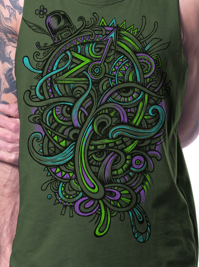Plazmalab Psychedelic Tank Top Mustache Print