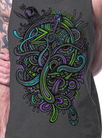 Psychedelic Tank Top Mustache Print