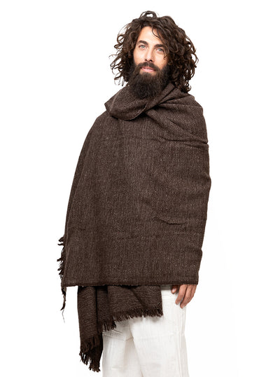 Unisex Handwoven Wool Shawl Extra Large