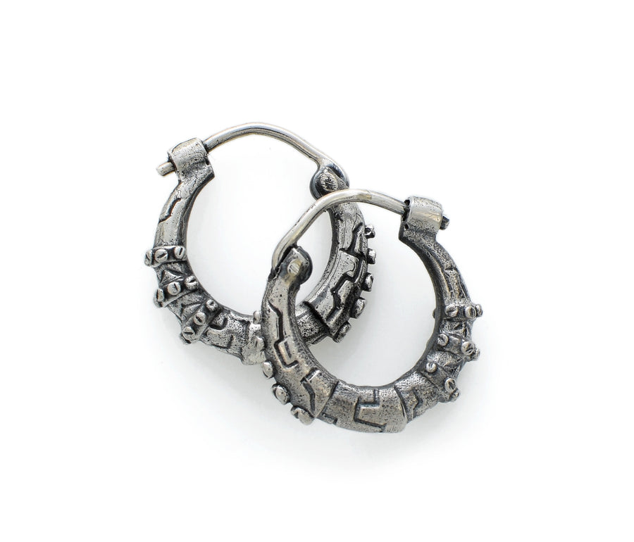 Hoop Silver Steampunk Earrings