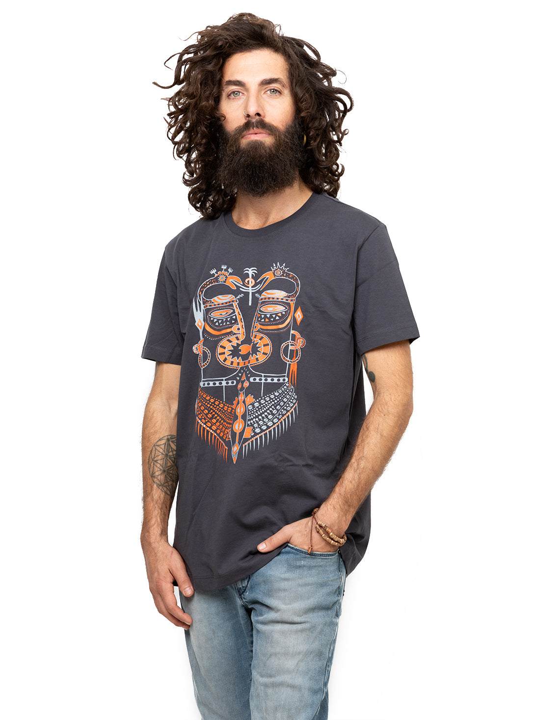 Men S Printed T Shirt Ancient Aztec Story Art Graphic Color Tribal Mask Top Street Habit