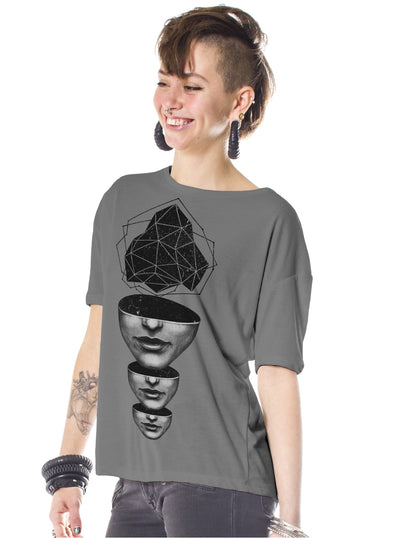 grey psychedelic t-shirt women plazmalab