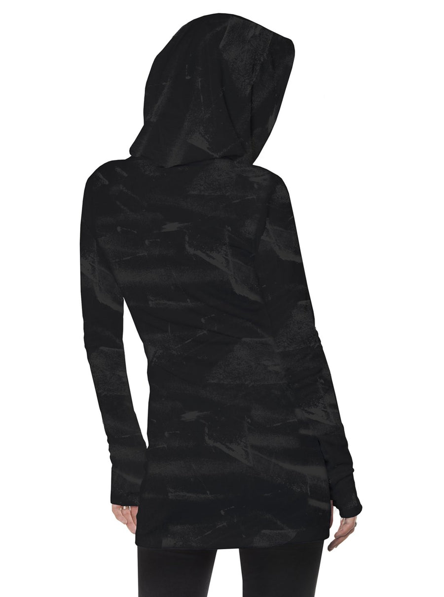 Light Weight Hooded Dress Fitted Black Brushed Pullover