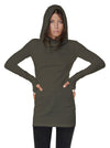 Light Weight Hooded Dress Fitted Green Pullover