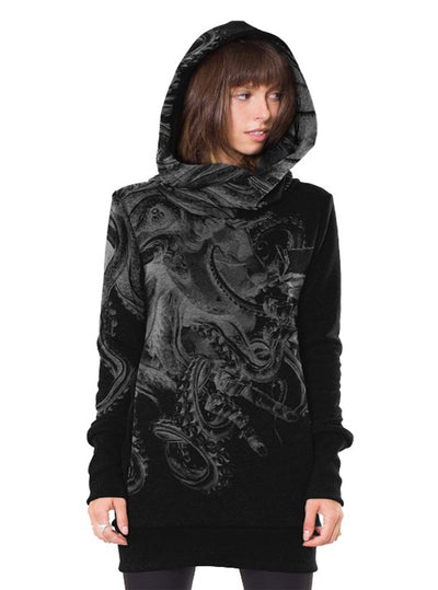 Hoodie Dress David vs Kraken Octopus Mythical Battle