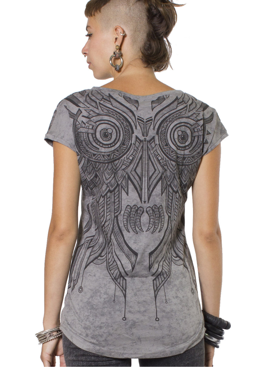 Street Art Owl Design Tee - Grey