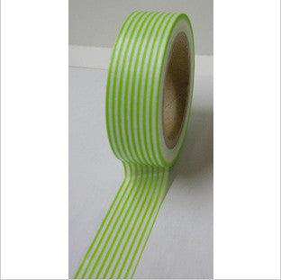 Green Stripes on White Washi Tape