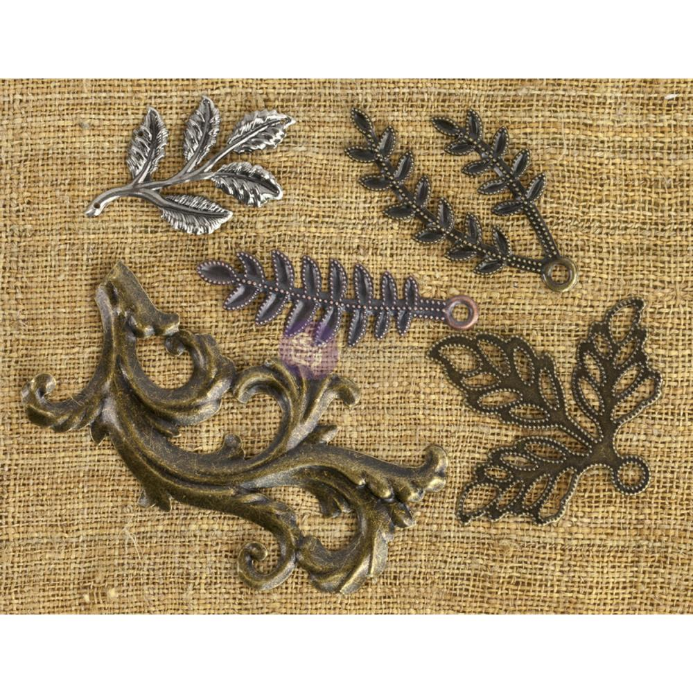 Leaves #1 Prima Mechanicals Metal Embellishments - 5 pack - Artified Shop