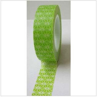 White Flower Pattern on Green Washi Tape - Artified Shop