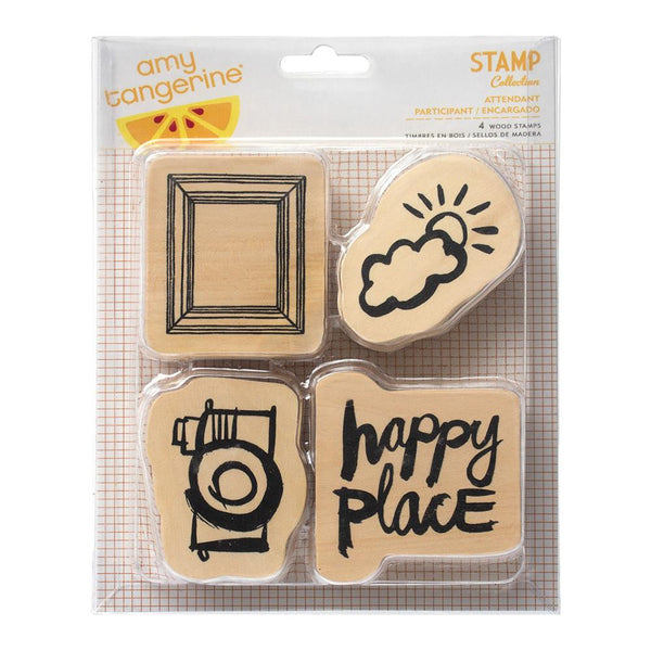 Attendant 4pcs Amy Tan Plus One Wood Mounted Stamps - Artified Shop