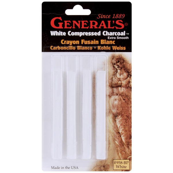 White Soft Assorted - Compressed Charcoal Sticks 4/Pkg