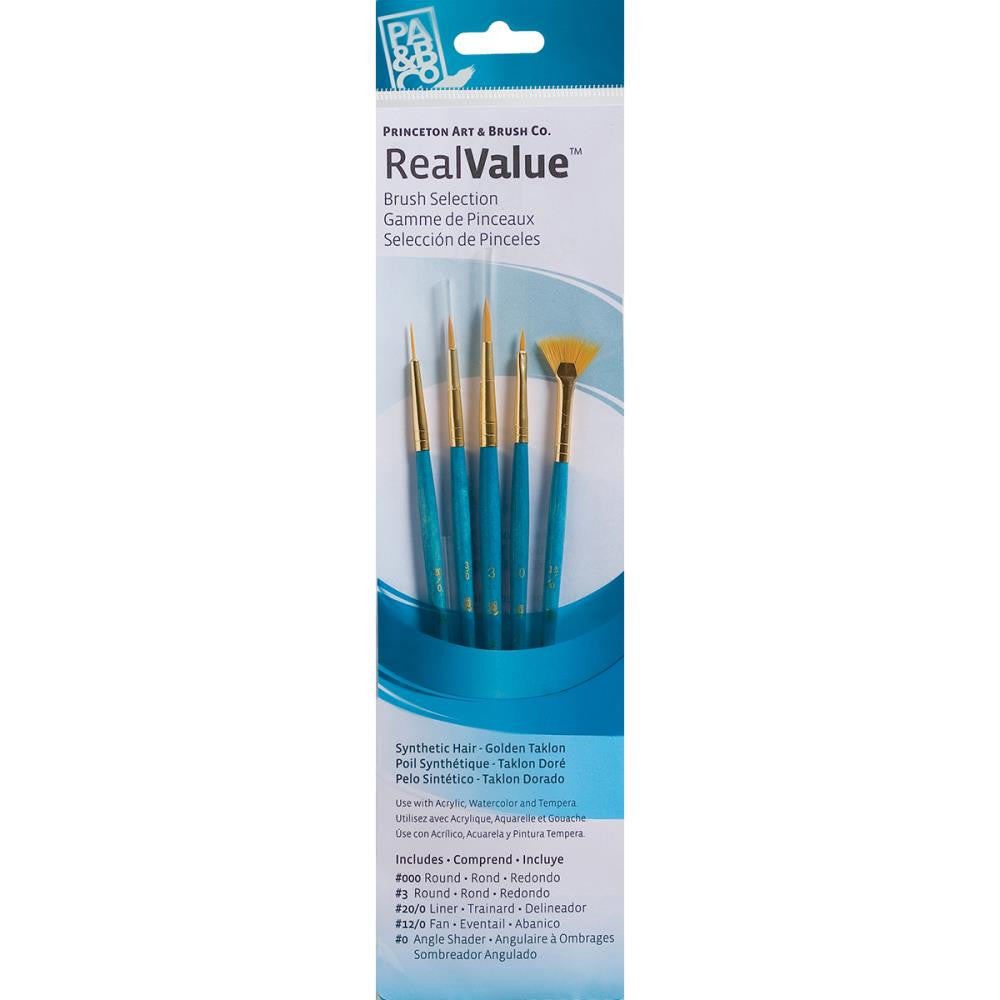Real Value Brush Set Synthetic Golden Taklon - 5 pack - Princeton Art & Brush Co - Artified Shop