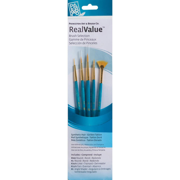 Real Value Brush Set Synthetic Golden Taklon - 5 pack - Princeton Art & Brush Co