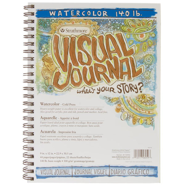 "Strathmore Visual Journal Spiral Bound 9""X12"" - Watercolour 140#"