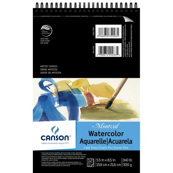 "Canson Montval Spiral Watercolor Pad 5.5""X8.5"" - Artified Shop"