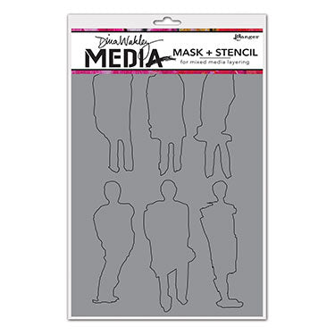"Dina Wakley Media Stencils 9""X6""  Funky Silhouettes - Artified Shop"