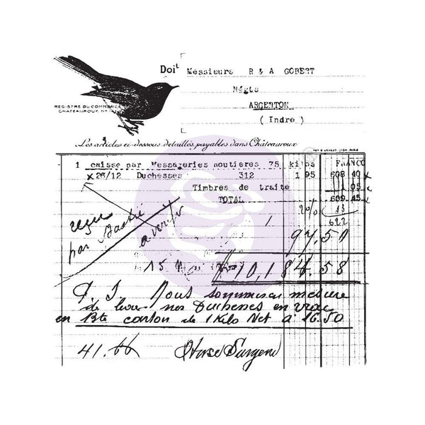 "Finnabair Clear Stamp 2.5""X2.5"" - Old Receipt"