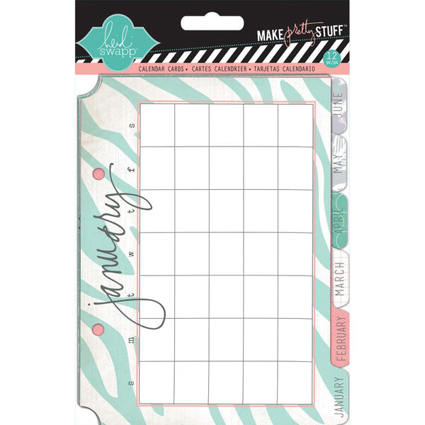 "Heidi Swapp Mixed Media Calendar Cards 5""X7"" 12/Pkg"
