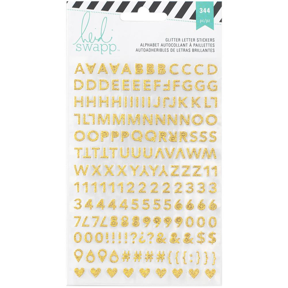 Heidi Swapp Memory Planner Alphabet Stickers 2/Sheets - Gold and Pink Glitter